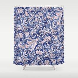 Vinage Lace Watercolor Blue Blush Shower Curtain