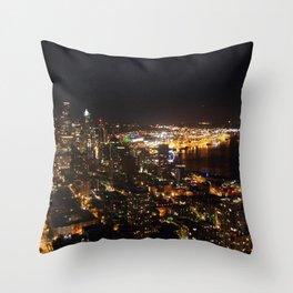 Seattle Night Lights - Great Wheel Throw Pillow