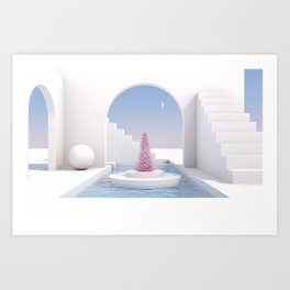 Scene with geometrical forms with Christmas tree, arch with a podium in natural day light. Art Print