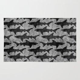 Gray and Black Shark Pattern Rug