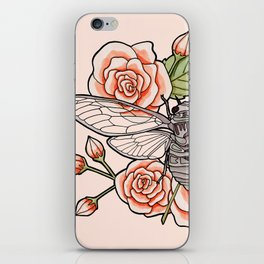 Cicada with Roses - Pink iPhone Skin
