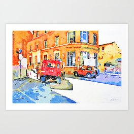 L'Aquila: orange building with two red cars Art Print