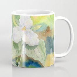 Trillium Wildflowers Watercolor  Coffee Mug