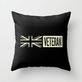 British Military: Veteran (Black Flag) Throw Pillow