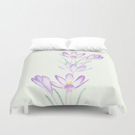 purple botanical crocus flowers Duvet Cover