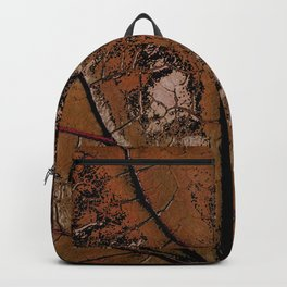 OLD BROWN LEAF WITH VEINS SHABBY CHIC DESIGN ART Backpack