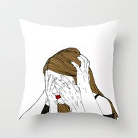 introvert Throw Pillows featuring Introvert 7 by Heidi Banford