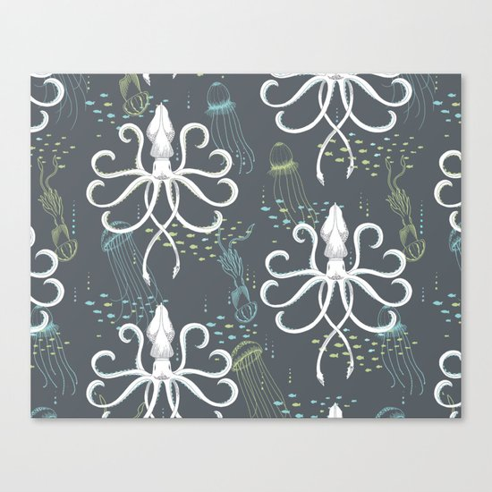 Ghostly Squid Damask Canvas Print