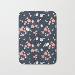 Navy blue cherry blossom finch Bath Mat