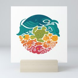 Aquatic Rainbow (white) Mini Art Print