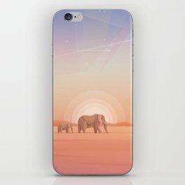 Elephants journey through desert landscapes of Africa iPhone Skin