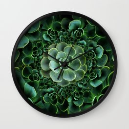 ORNATE JADE & DARK GREEN SUCCULENT  GARDEN Wall Clock
