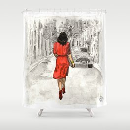 Woman in Red Dress Shower Curtain