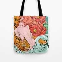 fierce Tote Bags featuring Fierce by Kate Mana