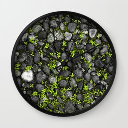 Spring sprout Pattern Photograph Print-Living Green grass springing up between the stone pavement Wall Clock