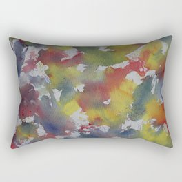Red Blue Yellow Watercolor Rectangular Pillow