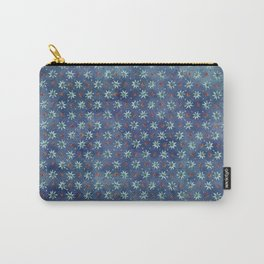 Amazing Watercolor Snowflakes Pattern on the dark blue background Carry-All Pouch