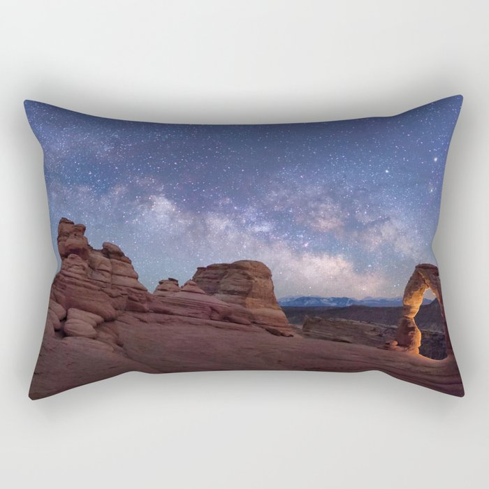 Delicate Arch Under the Starry Sky in Arches National Park Panorama Rectangular Pillow