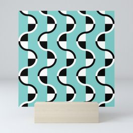 Geo Modern - Geometric Pattern Blue Black White Mini Art Print