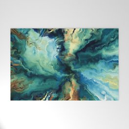 Marbled Ocean Abstract, Navy, Blue, Teal, Green Welcome Mat