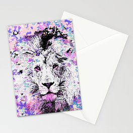 LION PINK and WHITE Stationery Cards