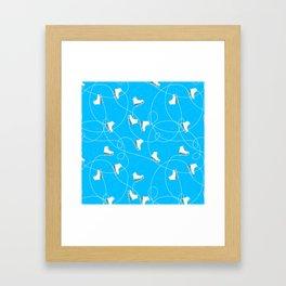 Winter Pattern Ice Skating Blue Background Framed Art Print
