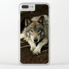 Intense Timber Wolf Clear iPhone Case