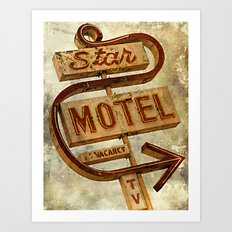 Vintage Grunge Motel Sign Art Print