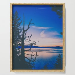 dead tree silhouette over Lake Tahoe at sunset Serving Tray