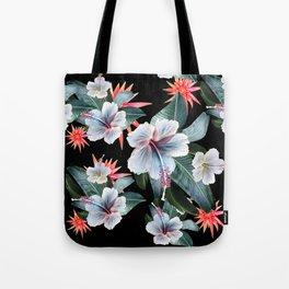 Tropical banana leaf, hibiscus vintage style, Hawaiian decor, retro Tote Bag