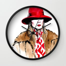 Fashion #18. woman in red hat, fur coat, long bright scarf and long earrings. Wall Clock