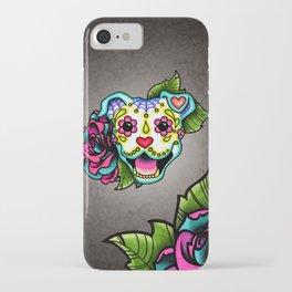 Smiling Pit Bull in White - Day of the Dead Pitbull Sugar Skull iPhone Case