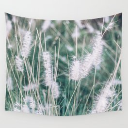 Blue Fountain Grass Plant Wall Tapestry