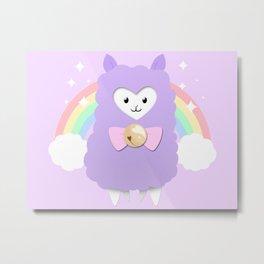 Sparkly Alpaca Rainbow Metal Print