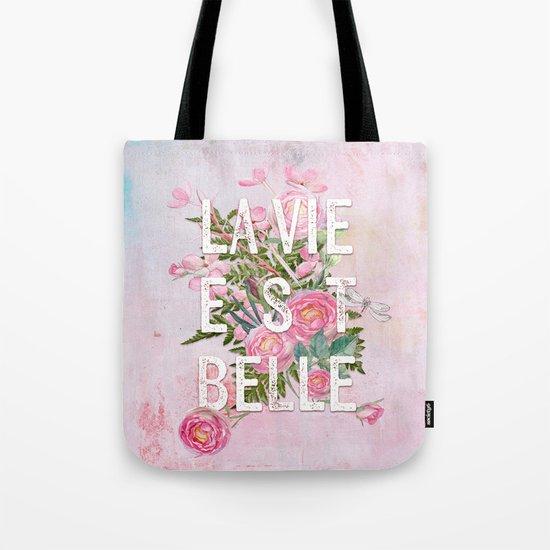 LAVIE EST BELLE - Watercolor - Pink flowers roses - rose flower on #Society6 Tote Bag