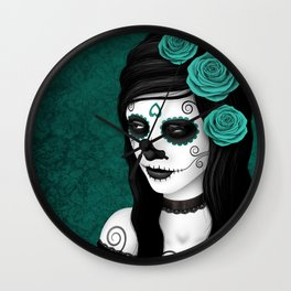 Day of the Dead Sugar Skull Girl with Teal Blue Roses Wall Clock