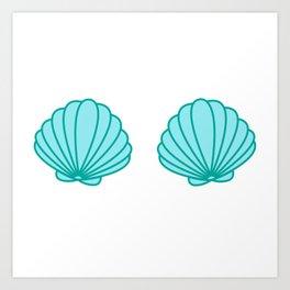 Mermaid Shell Bra Art Print