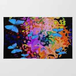 Butterfly Dreams in  Black Fantasia Colors Abstract Rug
