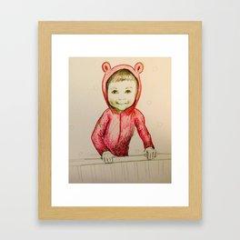 Little boy bear - Nursery art / nursery decor Framed Art Print