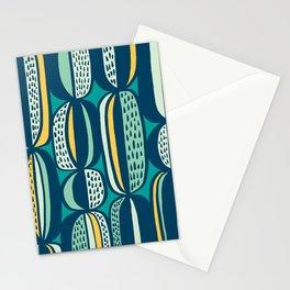 Blue Cactus Garden // mid century modern pattern Stationery Cards