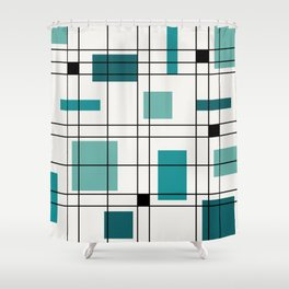 1950's Abstract Art Teal Shower Curtain