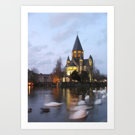 Metz Swans Art Print