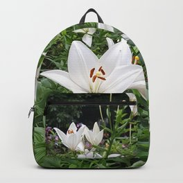 Japanese Lilies // Flower Field Bush In Park Backpack