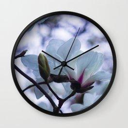 Bokeh Magnolias Wall Clock