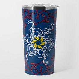 Mandala, Dark Teal, Red, White, Yellow Travel Mug