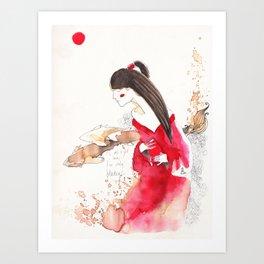 Geisha and Sharks (tension) Art Print