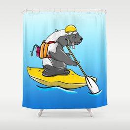 Honey badger kayaking Shower Curtain