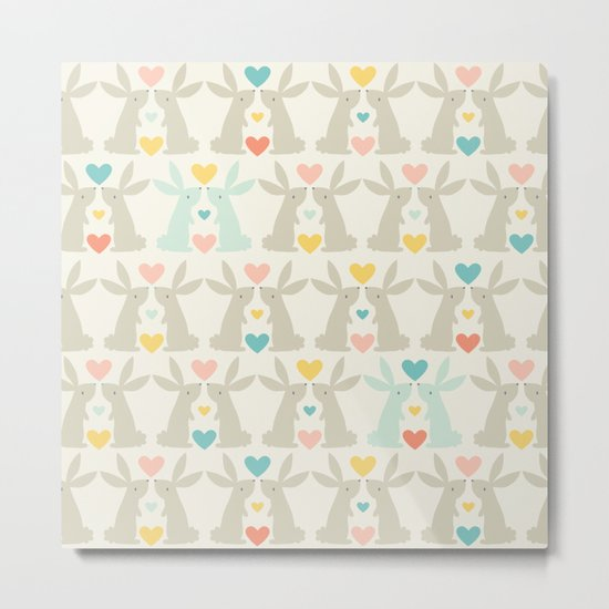 Bunnies and Hearts Metal Print
