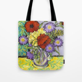 Lavender Flowers on Yellow Tote Bag