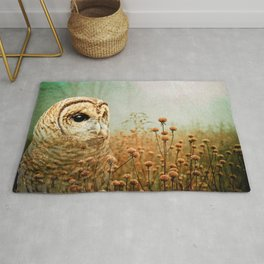 Barred Owl in Foggy Forest Rug